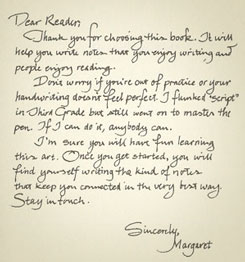 A note from Margaret to her readers